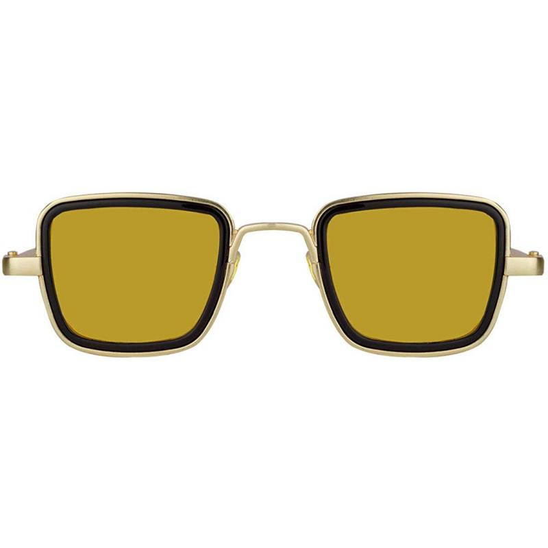 Elegante Metal Body Golden Square and with Yellow Lenses  inspired from Kabir Singh Sunglass for Men and Boys
