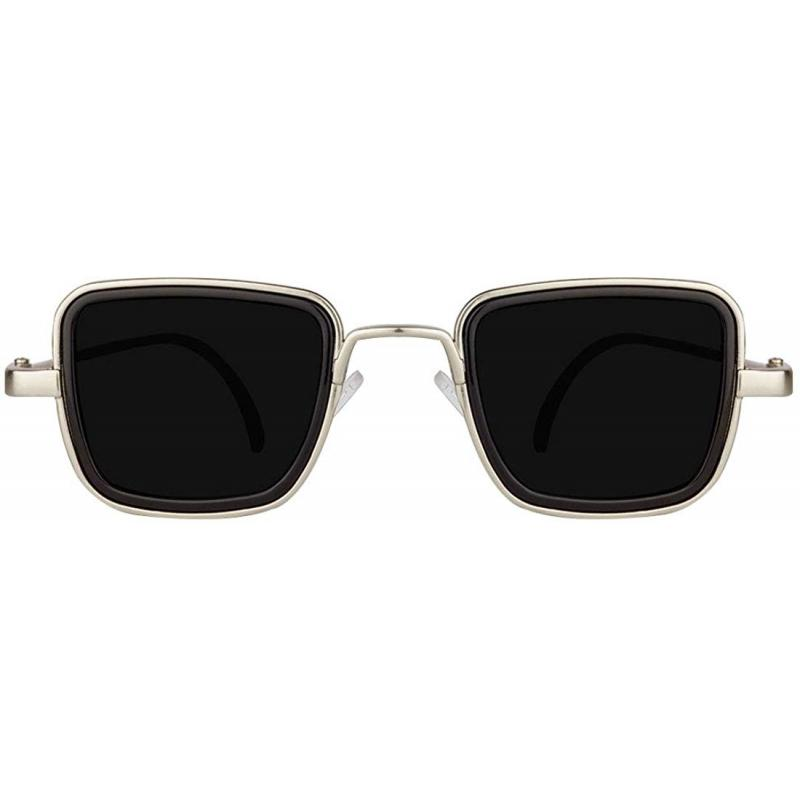 Elegante Metal Body Silver Squarea Nd With Black Lenses Inspired From Kabir Singh Sunglass For Men And Boys