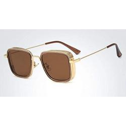 Elegante Metal Body Golden Squarea nd with Brown Lenses  inspired from Kabir Singh Sunglass for Men and Boys